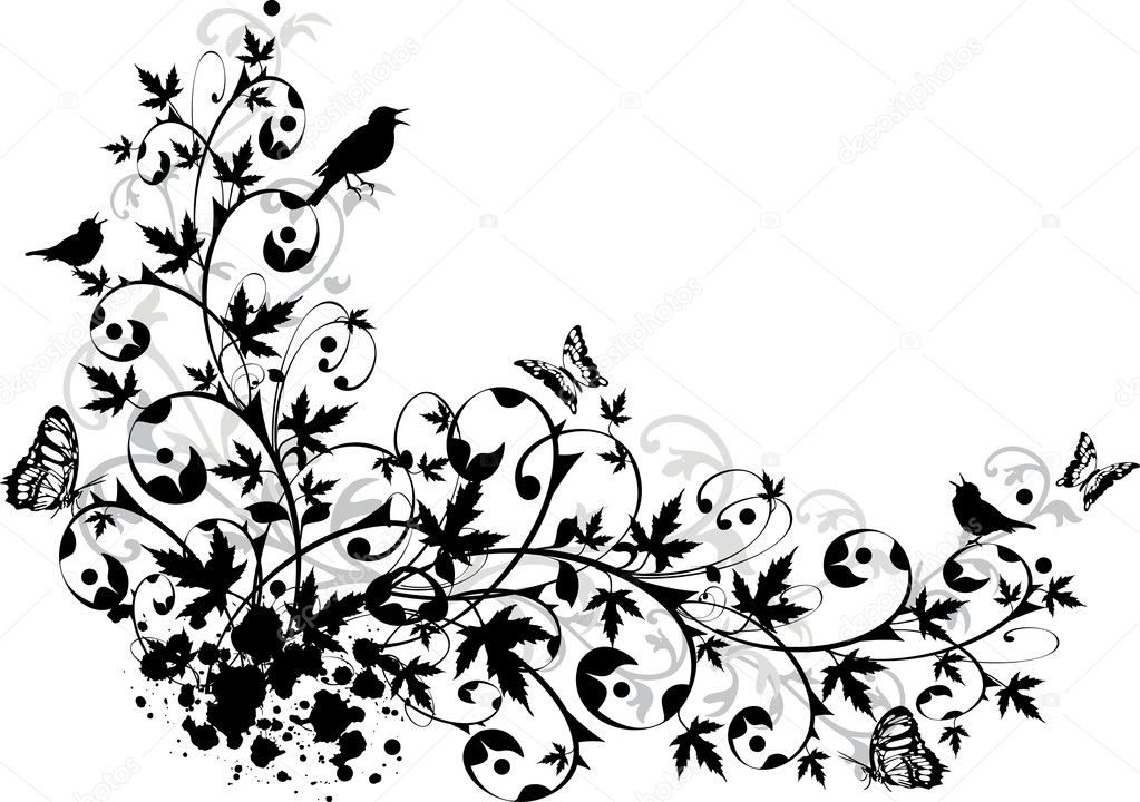 Ornamental garden with birds, vector — 图库矢量图片 #1447628