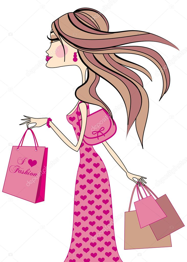 I love fashion, fashion girl with shopping bags, vector — Stock Vector #1447883