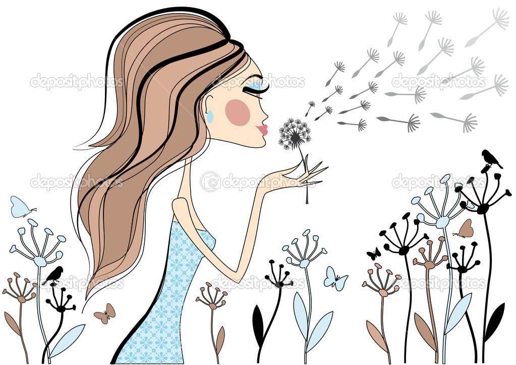 Fashion girl with dandelion flower, vector — Stock Vector #1447910