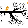 Ornamental tree with birds — Imagen vectorial