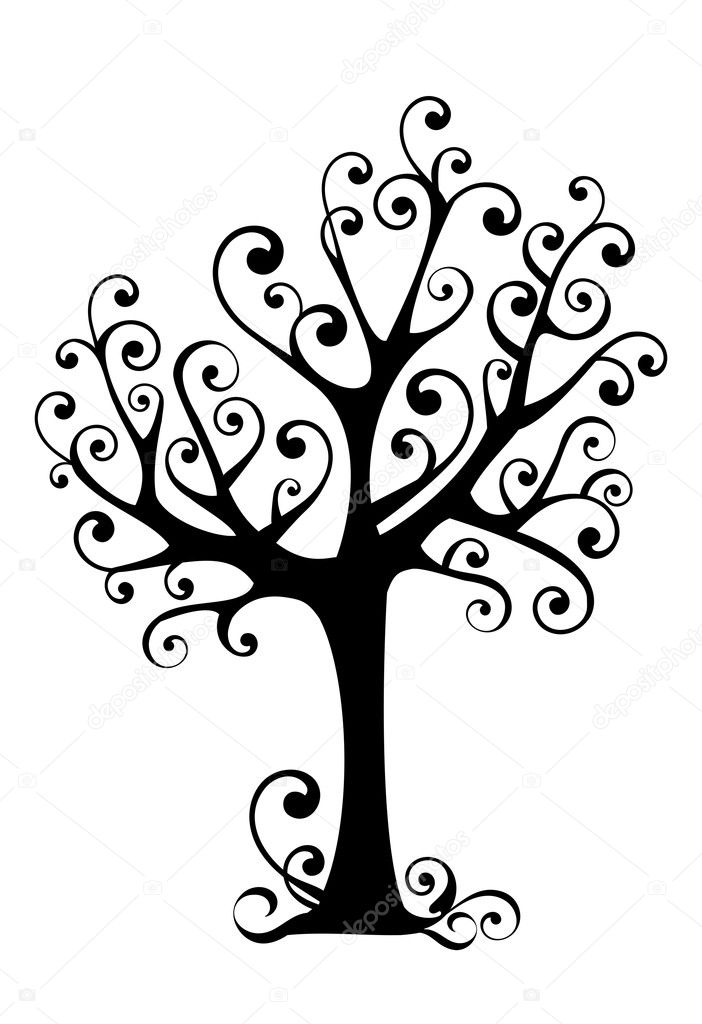 Ornamental tree with swirly branches, vector — Stock Vector #1507161