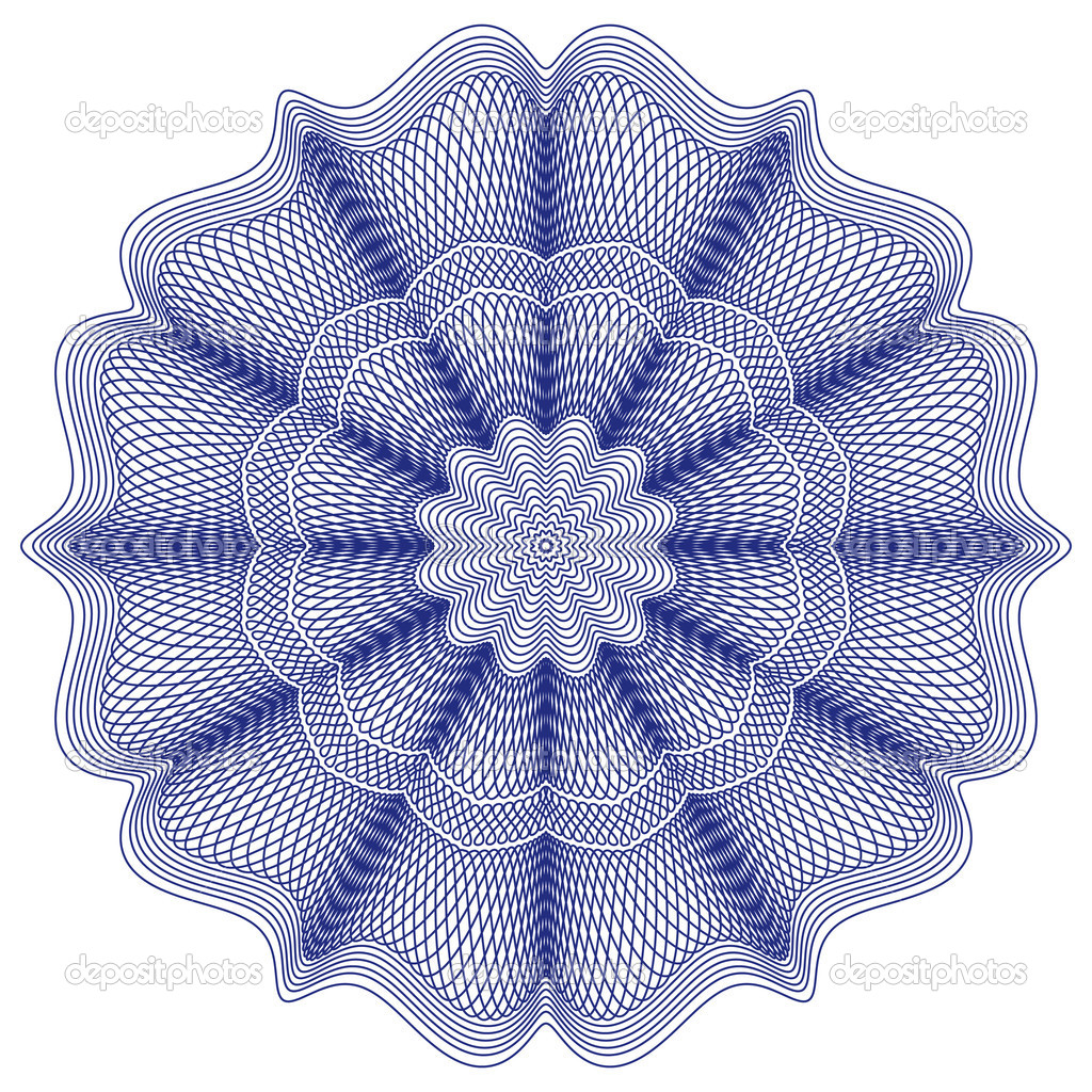 Guilloche rosette, vector pattern for currency, certificate or diplomas — Stock Vector #1507642