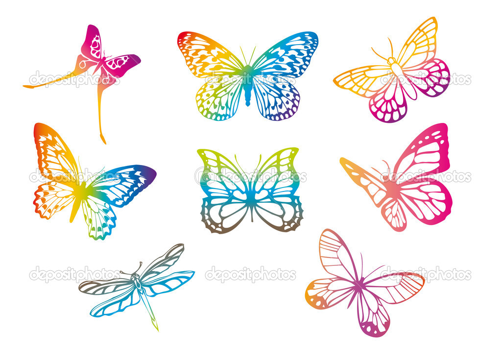 Set of butterfly silhouettes, vector — Stock Vector #1507813