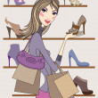 Stock Vector: Fashion womwith shoes