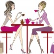 Women drinking — Vector de stock