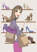 Fashion woman with shoes — Stock Vector