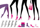 Jambes féminines, vector — Vecteur