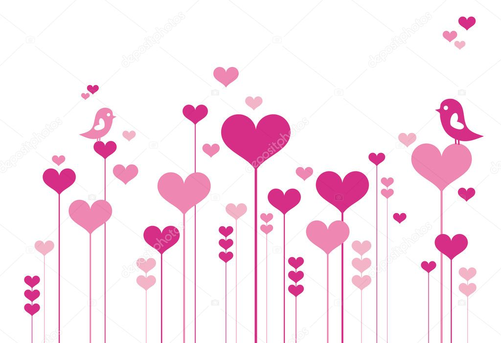 Heart flowers with lovebirds, vector background — ベクター素材ストック #1527171