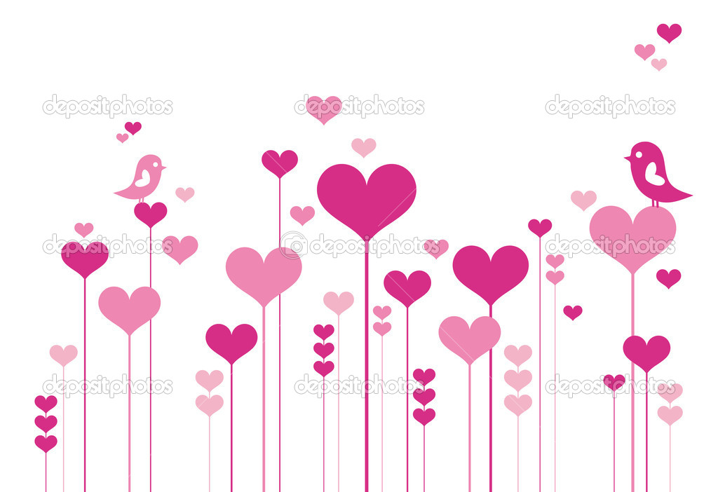 Heart flowers with lovebirds, vector background — Image vectorielle #1527171
