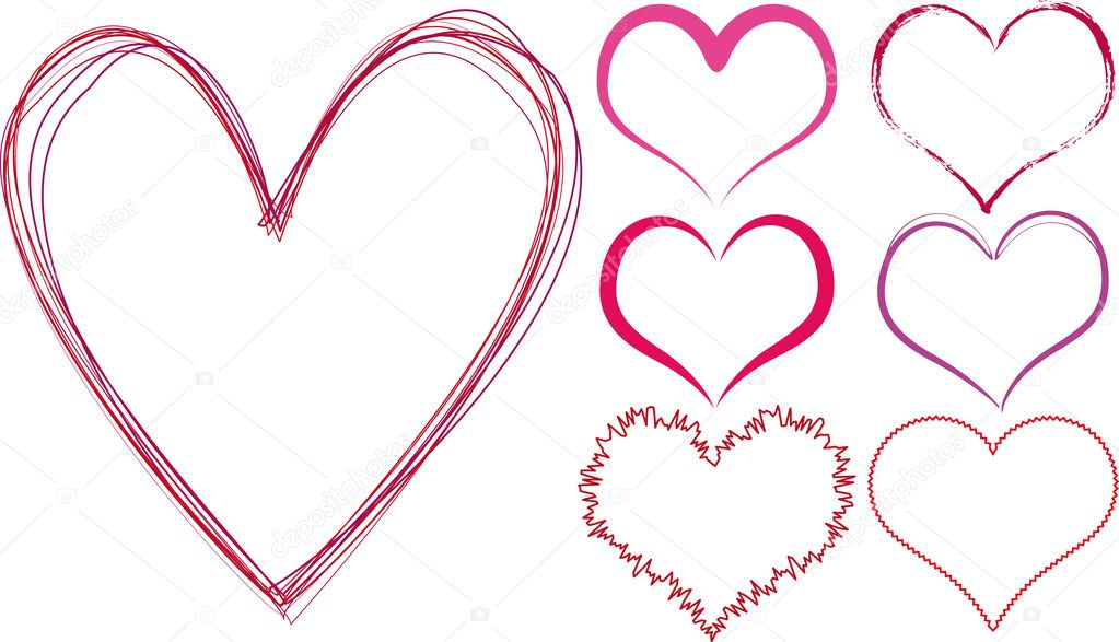Set of scribble hearts, vector — Imagen vectorial #1527188