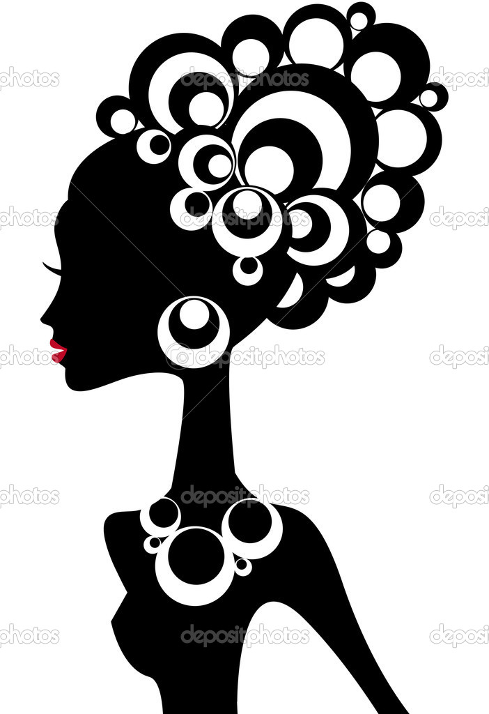 Woman silhouette with black hair and jewels — Stock vektor #1527356