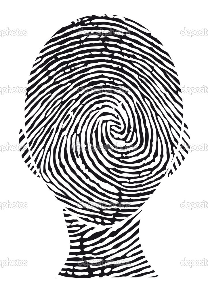 Fingerprint head, vector — Stock Vector #1527427