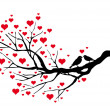 Birds kissing on a heart tree - Stok Vektör