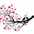 Birds kissing on a heart tree — Vector de stock