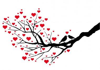 Birds kissing on a heart tree