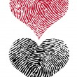 Vector de stock : Two fingerprint hearts, vector