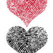 Two fingerprint hearts, vector - Stock Vector