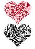 Two fingerprint hearts, vector — Stock Vector