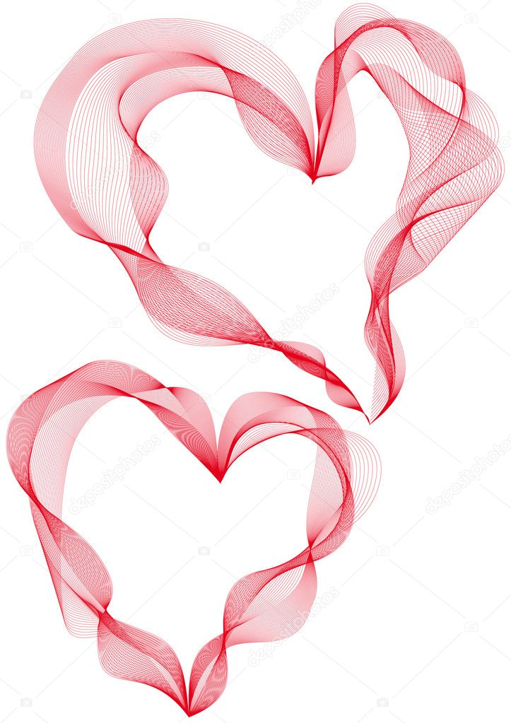 Two abstract ribbon hearts, vector background — Stock Vector #1803793