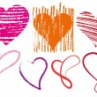 Heart scribbles, vector — Vector de stock