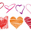 Scribble hearts set, vector — Vector de stock
