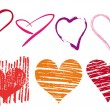 Scribble hearts set, vector - Stock Vector