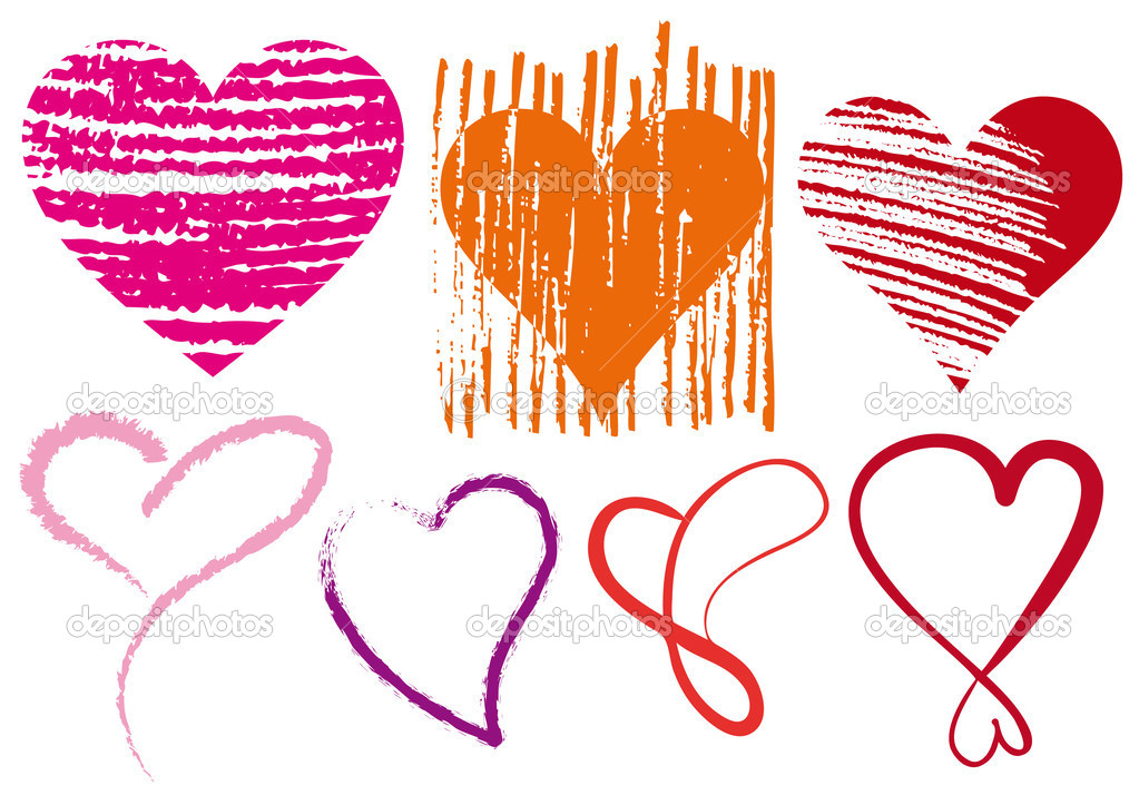 Set of doodle hearts with grungy texture, vector — Stock Vector #1836455