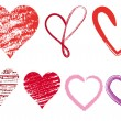 Royalty-Free Stock ベクターイメージ: Heart doodles, vector