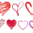 Heart doodles, vector - Stock Vector
