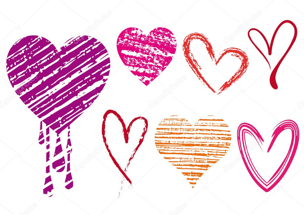 Set of doodle hearts with grungy texture, vector    #1852523