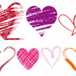 Royalty-Free Stock 矢量图片: Grungy hearts, vector
