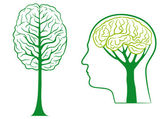 Yeşil düşün, vektör — Stok Vektör