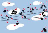 Birds in love, vector — Stock Vector
