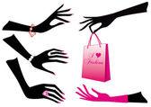 Kobiece ręce, wektor — Wektor stockowy