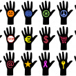 Hands with icons, vector — Stock Vector