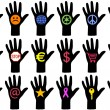 Royalty-Free Stock ベクターイメージ: Hands with icons, vector