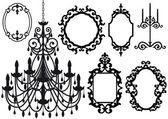 Antigua lámpara de araña y los marcos — Vector de stock