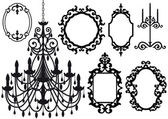 Old chandelier and picture frames — Vector de stock