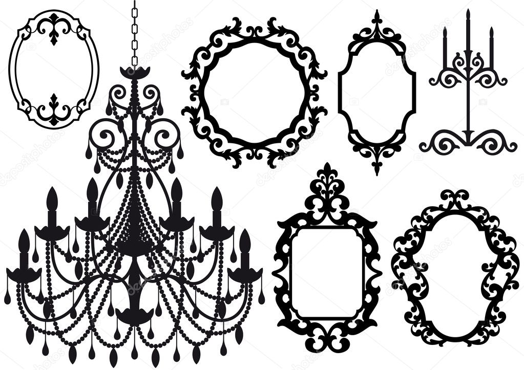 Antique picture frames and crystal chandelier silhouette, vector  — Stock Vector #2275389