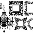 Picture frames and chandelier, vector - Stock Vector