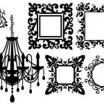 图片框架和枝形吊灯、 矢量 — 图库矢量图片