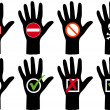 Stock Vector: Hands with icons