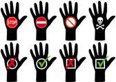 руки с иконами — Cтоковый вектор