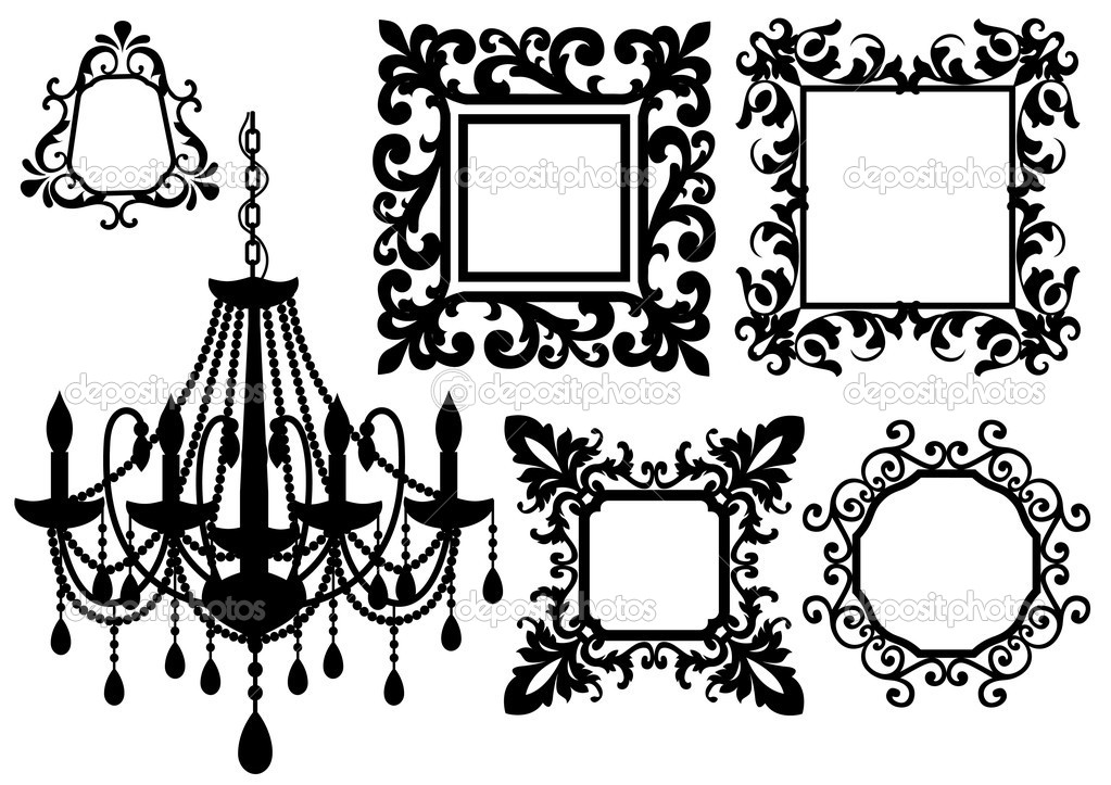 Antique picture frames and crystal chandelier silhouette, vector  — Stock Vector #2316400