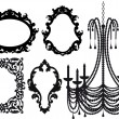 Chandelier and picture frames, vector — Vector de stock