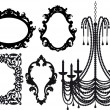 Chandelier and picture frames, vector - Stock Vector