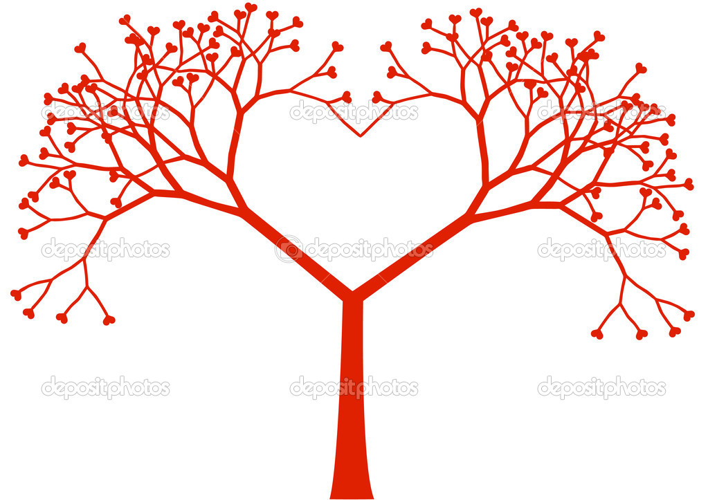 Heart shaped tree with heart leaves, vector — Векторная иллюстрация #2418289