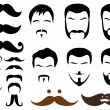 Vector de stock : Moustache and beard styles, vector