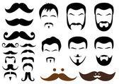Estilos de bigote y barba, vector — Vector de stock