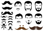 Moustache and beard styles, vector — Stok Vektör